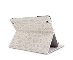 RKA iPad 4 3 2 Magnetic Cute Cartoon Leather Case Smart Cover White