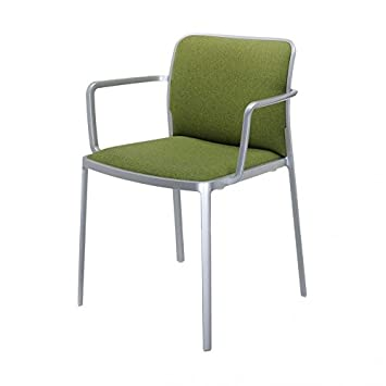 Kartell Audrey Soft armchair with Aluminium Structure Wallpaper, Acid Green