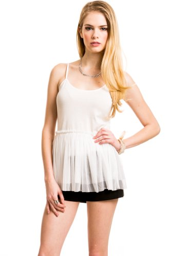 Mesh Layered Ballerina Camisole In Cream