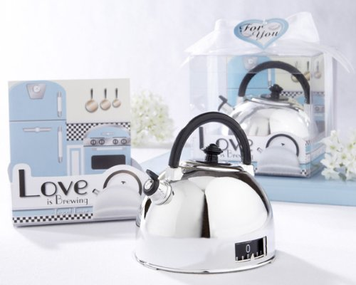 """Love is Brewing"" Teapot Timer in Classic Retro Gift Box"