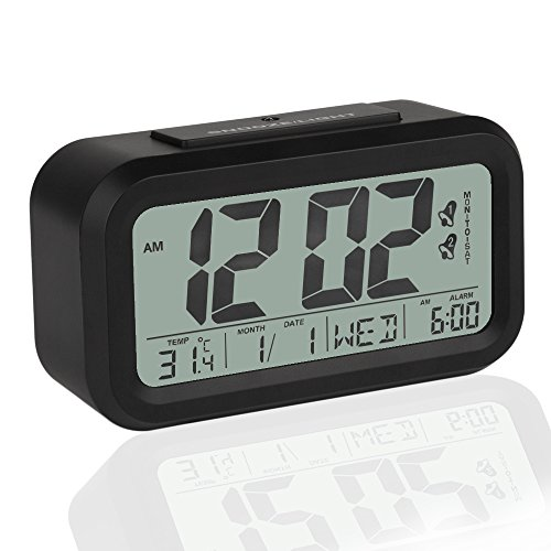 Peakeep Simple Settings Digital Alarm Clock Battery Operated with Dual Alarms and Snooze Function - Travel Alarm Clock and Home Alarm Clock - Optional Weekday Alarm Mode and Sensor Light
