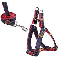 Mimibox No-pull Dog Harness Denim Traction Rope Training Walking Combo