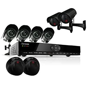 Defender SN301-8CH-002 8 Channel H.264 Smart DVR Security System with Coaching iMenu and 4 Indoor/Outdoor Hi-Res CCD Night Vision Surveillance Cameras & Bonus 2 PH300 and 2 PH301 Imitation Security Cameras