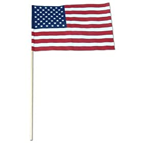US Stick Flag 12inx18in 30in x 3 8in wood stick - US Made