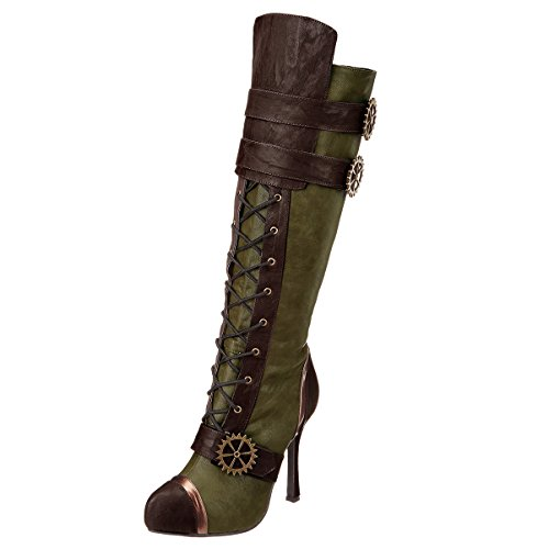 4-Inch-High-Heel-Steampunk-Boots-Lace-Up-Knee-Boots-Gears