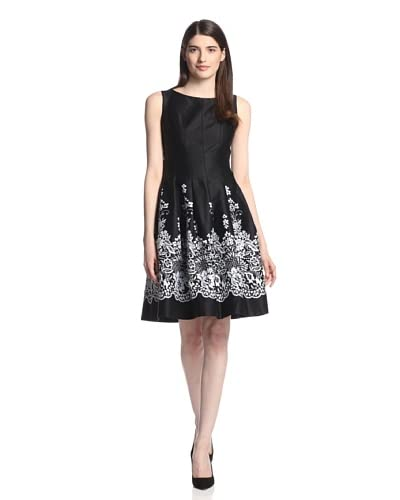 Chetta B Women's Border Print Sleeveless Dress  [Black/White]