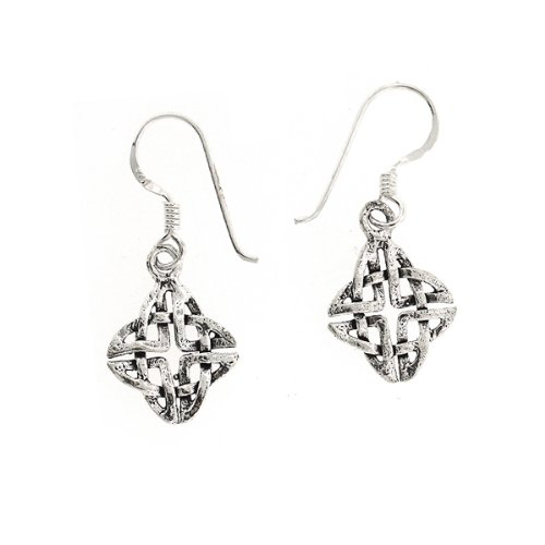 .925 Sterling Silver Nickel Free Celtic Knot Irish Basket Design French Hook Earrings