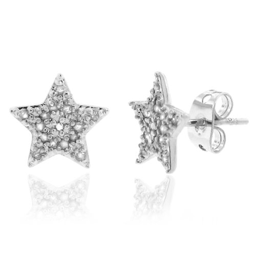 Sterling Silver 925 Micro-pave Genuine Diamond Accents 0.15cts (Color H-I, Clarity I2-I3) Star Stud Earrings
