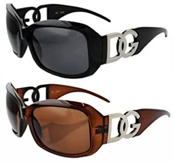 1 Black & 1 Brown Oversize Frame Women's Fashion Sunglasses