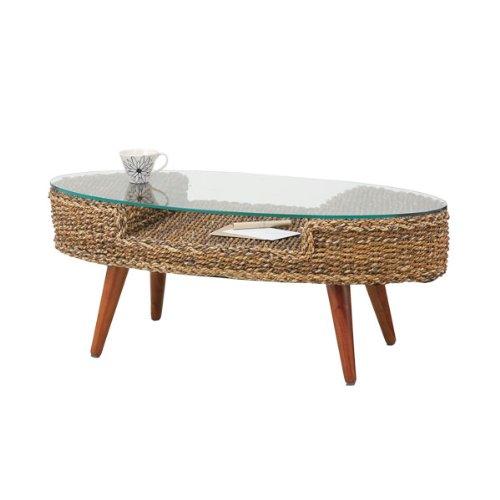 ローテーブル ガラス 籐家具 アジアン クラールオーバルテーブル NRT-415