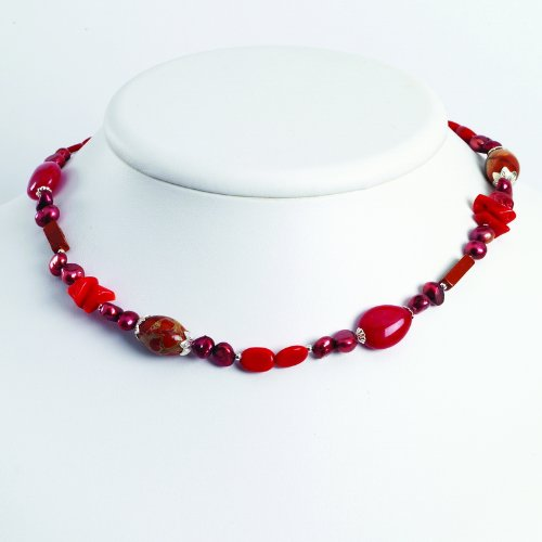 Sterling Silver Red Coral/FW Cultured Pearl/Agate/Jasper Necklace. 16in long.