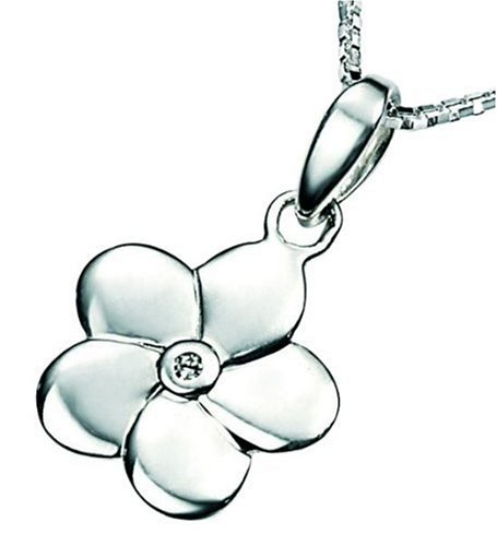 D for Diamond Sterling Silver P2967 Girls Diamond Set Flower Pendant