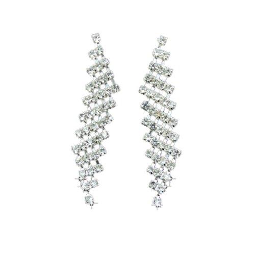 Diamante Rhinestone Wedding Party Jewellery Drop Dangle Clip-on Earing