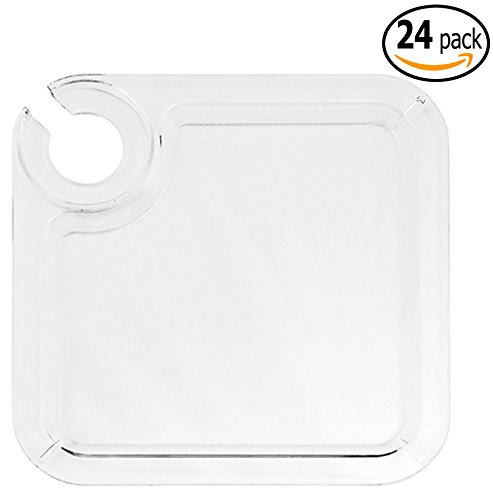 Reusable Appetizer Cocktail Buffet Plates with Wine Stem Holder and Pan Scraper, Clear Acrylic , 8inch (24) (Appetizer Plates With Wine Holder compare prices)