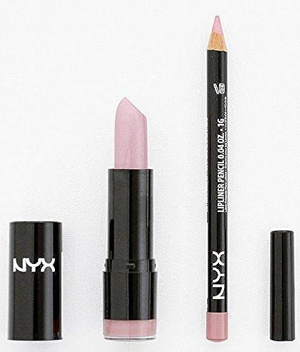 NYX Round Lipstick 592 Baby Pink + Slim Lip Liner 848 Flower Set