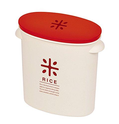 パール金属 日本製 米びつ 5kg レッド 計量カップ付 お米 袋のまま ストック RICE HB-2167