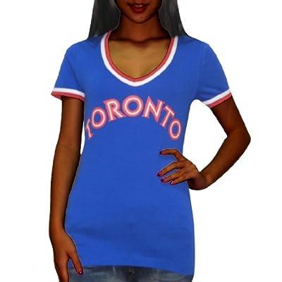 Pink Victoria's Secret Womens MLB Toronto Blue Jays V-Neck Tee