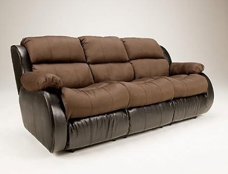 Two Tone Espresso Reclining Sofa with Massage