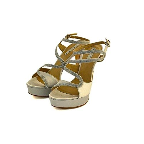 Decollete, sandali gioiello, Tiffi in raso grigio, taglia: 36