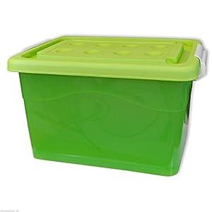 coffre caisse de rangement plastique avec couvercle et roulettes 60 l vert 22255. Black Bedroom Furniture Sets. Home Design Ideas