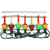 Vickerman 7 Light Mu Light Colored Bubble Set with Green Wire 20-Inch, Spacing UL End Connector
