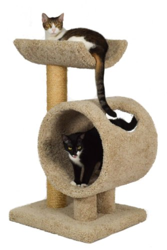 "Molly and Friends ""Loft and Round"" Premium Handmade 2-Tier Cat Tree with Sisal, Model 34, Beige"