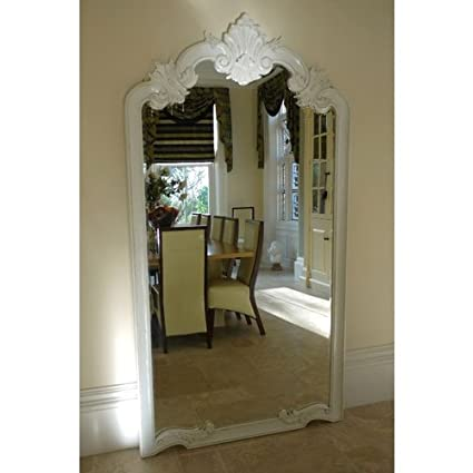 Large Louis XV Mirror Antique White Hand Carved W: 115cm H: 215cm Free Delivery UK Mainland