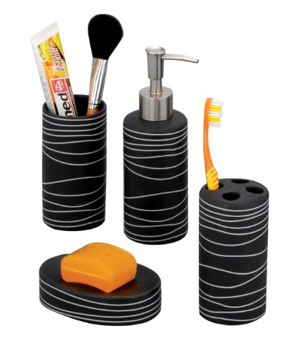 Zeller 18252 4-Piece Bathroom Accessories Set Ceramic Black