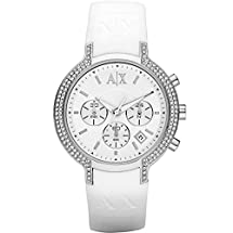 Armani Exchange Ladies Stainless Steel Case with White Rubber Strap Chronograph Watch