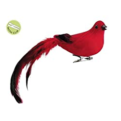 3 Natures Glow Feathered Red Song Bird Clip-On Christmas Ornament