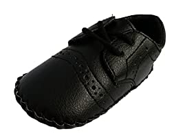 Femizee Infant/Toddler Baby Boys Sewing Pattern Soft Leather Oxford Shoes Black 6-9 Months