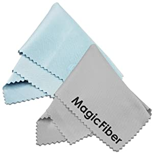 (2 Pack) MagicFiber Microfiber Cleaning Cloths - For Tablets, Lenses, and Other Delicate Surfaces (1 Light Blue, 1 Grey)