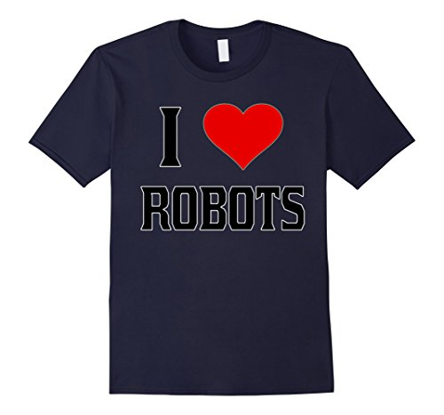 Men's I Heart Love Robots <3 T Shirt - Funny Humor 2XL Navy (Love And Robots compare prices)
