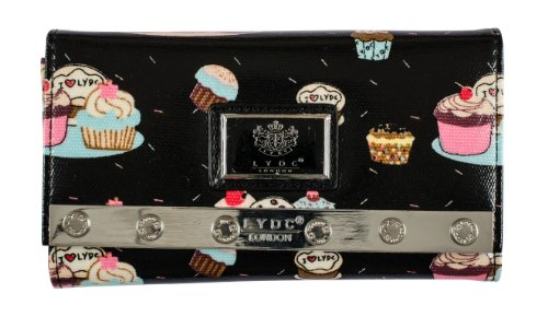 Womens Ladies LYDC Designer Cupcake Print Black Purse Clutch Wallet Bag P66 By Classyshades
