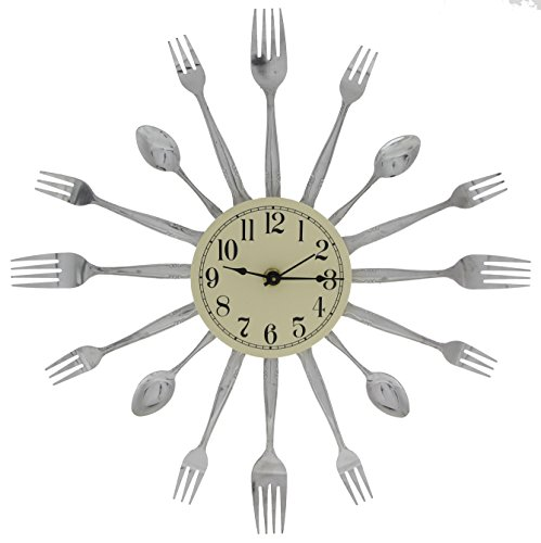 Forked Up Art P26 16-Dial Clock, Fork/Spoon
