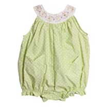 BT Kids Infant Baby Girls 1 Piece Green Polka Dot Embroidered Summer Play Set