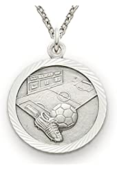 """Solid .925 Sterling Silver Soccer Medal St. Saint Christopher on back 3/4"""" Boys Sports Patron Saint St. Comes with a 20'' chain Pendant Necklace in a deluxe velvet box"""