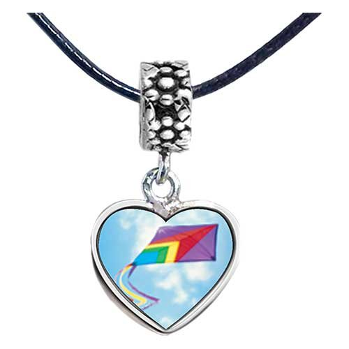 Chicforest Silver Plated Flying A Purple Kite Photo Flower Head Dangle Heart Charm Beads Fits Pandora Charms
