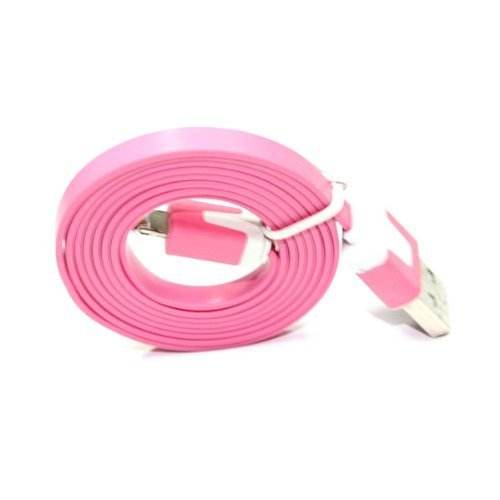 8 Pin Usb Flat Noodle Sync Data Charger Cable For Iphone 5 5G Ipad Mini Pink By Generic