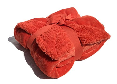 """Sherpa Throw Cozy Reversible Lined Blanket 50 X 60"""" Microplush/Sherpa Throw Blanket (Burnt Orange) front-617139"""