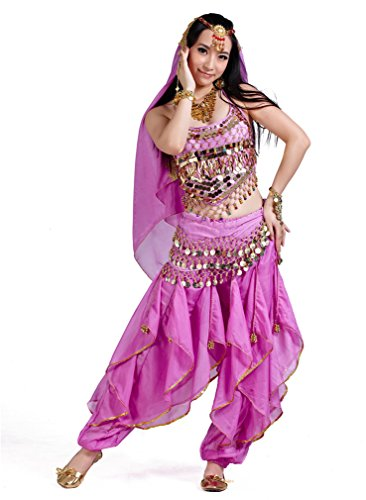 Dreamspell Belly Dancer Costume Set Light Purple Professional Dancing Indian Style(5 Items)