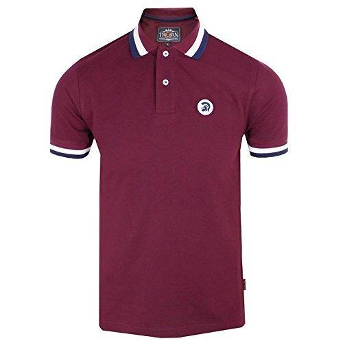 trojan-records-polo-shirt-herren-maroon-drei-streifen-trimm-top-weinrot-small