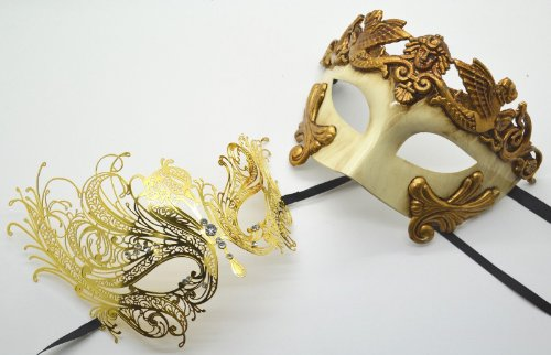 Roman Greek God Goddess Set - His & Hers Luxury Masquerade Masks Antique Gold