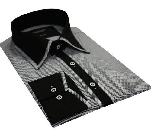 Italian Design Men's High Collar Formal Casual Shirt Contrast Collar Black