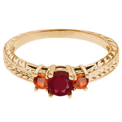 0.56 Ct Round Red Ruby Orange Sapphire 18K Yellow Gold 3-Stone Ring