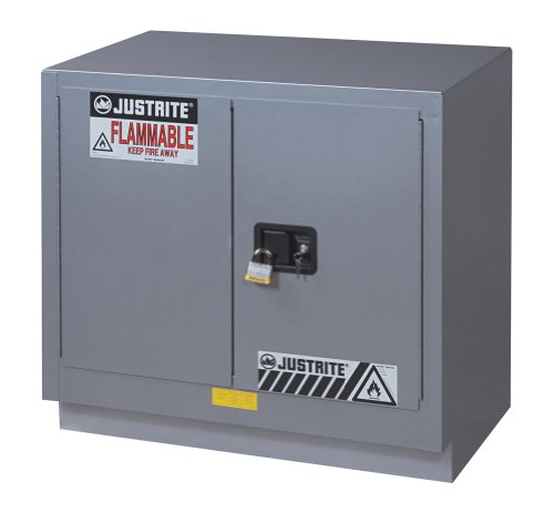 "Justrite 883604 18 Gauge Steel 2 Door Manual Under Fume Hood Flammables Safety Storage Cabinet, 23 Gallon Capacity, 36"" Width X 35-3/4"" Height X 21-5/8"" Depth, Silver"
