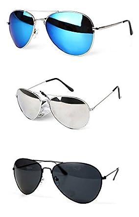 PURECITY® Lot de 3 paires de Lunettes de Soleil Aviateur - Verres Effet Miroir - Monture Métal - Collection Mixte Fashion Tendance (Miroir bleu + Miroir argent + Noir)