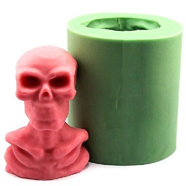 Halloween Skull Human Skeleton Fondant Cake Chocolate Candle Silicone MoldL8.4cm*W7cm*H9.6cm