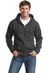 Port & Company Men\'s Classic Full Zip Hooded Sweatshirt 4XL Dark Heather Grey