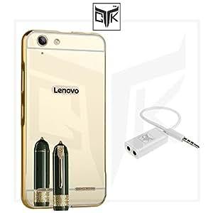 TGK™ Combo for Lenovo Vibe K5 / K5 PLUS (Combo of 1 Back Cover + 1 Audio Splitter) - TGK™ ULTRA Premium Luxury Metal Bumper Acrylic Mirror Back Cover (Golden) + Audio Splitter